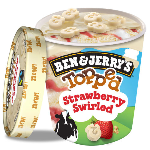 Ben & Jerry's Topped Strawberry Swirled Eis 470ml
